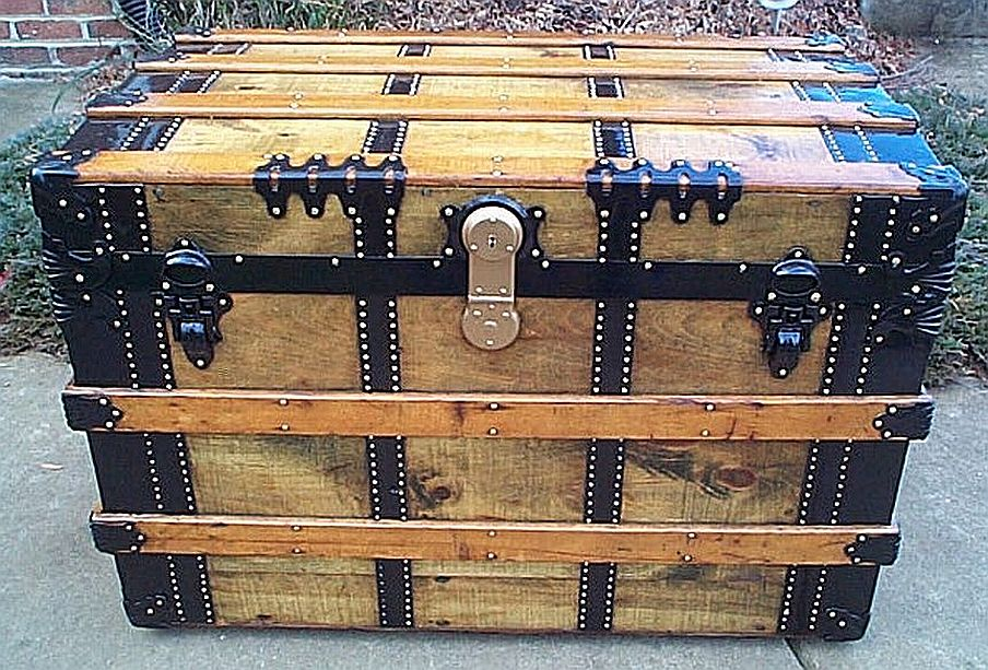 All Wood Large Size Flat Top Antique Steamer Trunk #346