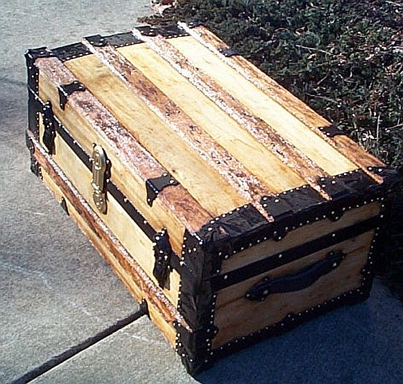 Side View - All Wood Low Profile Flat Top Antique Steamer Trunk #349