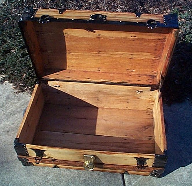 Open - All Wood Low Profile Flat Top Antique Steamer Trunk #349