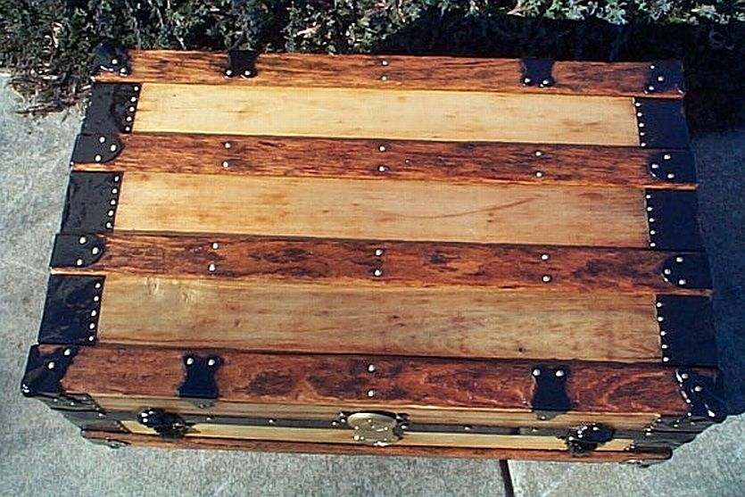 Top - All Wood Low Profile Flat Top Antique Steamer Trunk #349