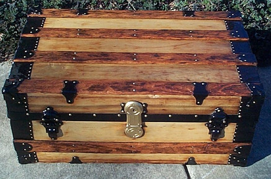 All Wood Low Profile Flat Top Antique Trunk #349