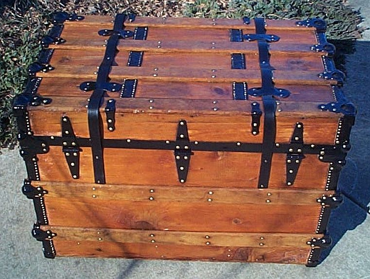 Rear - All Wood Flat Top Antique Steamer Trunk #350