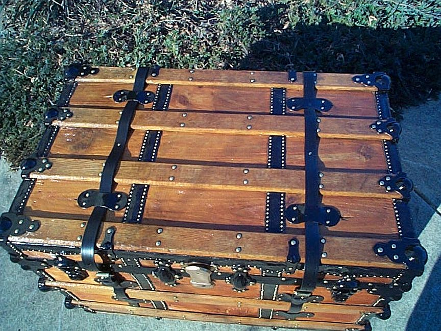 Top - All Wood Flat Top Antique Steamer Trunk #350