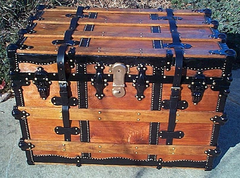All Wood Flat Top Antique Trunk #350