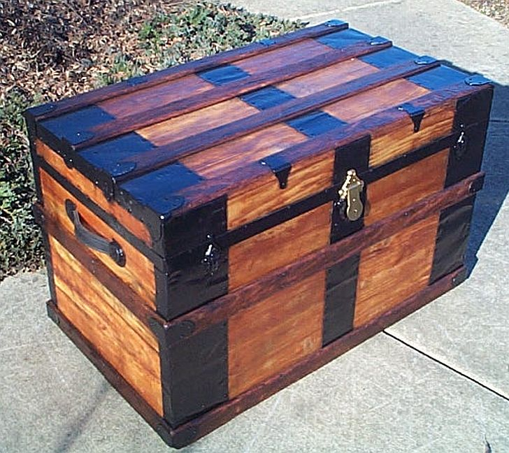 Side - All Wood Flat Top Antique Steamer Trunk #351