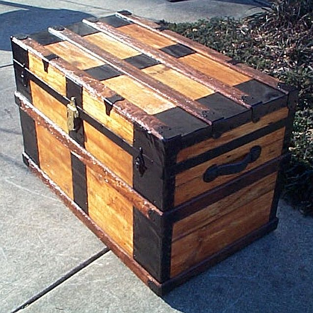 Side View - All Wood Flat Top Antique Steamer Trunk #351