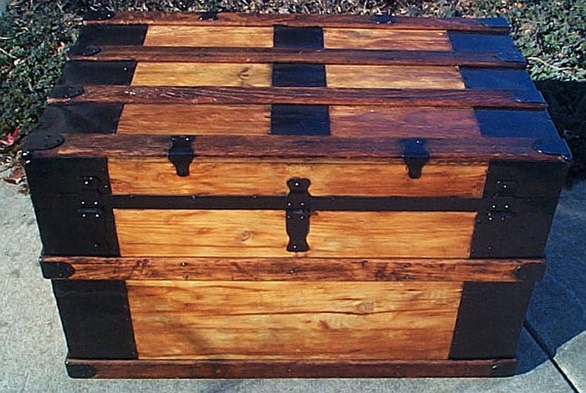 Rear - All Wood Flat Top Antique Steamer Trunk #351