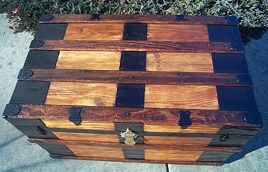 Top - All Wood Flat Top Antique Steamer Trunk #351