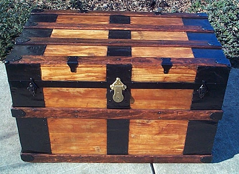 All Wood Fully Restored Flat Top Antique Trunk #351