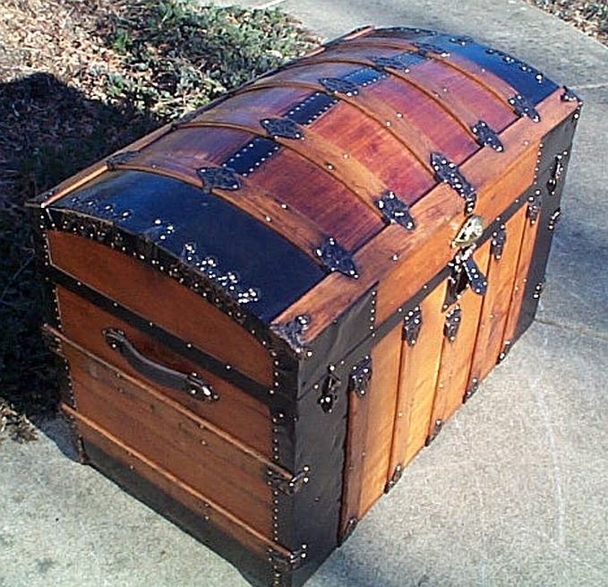 Side - All Wood Large Size Dome Top or Dometop Antique Steamer Trunk #353