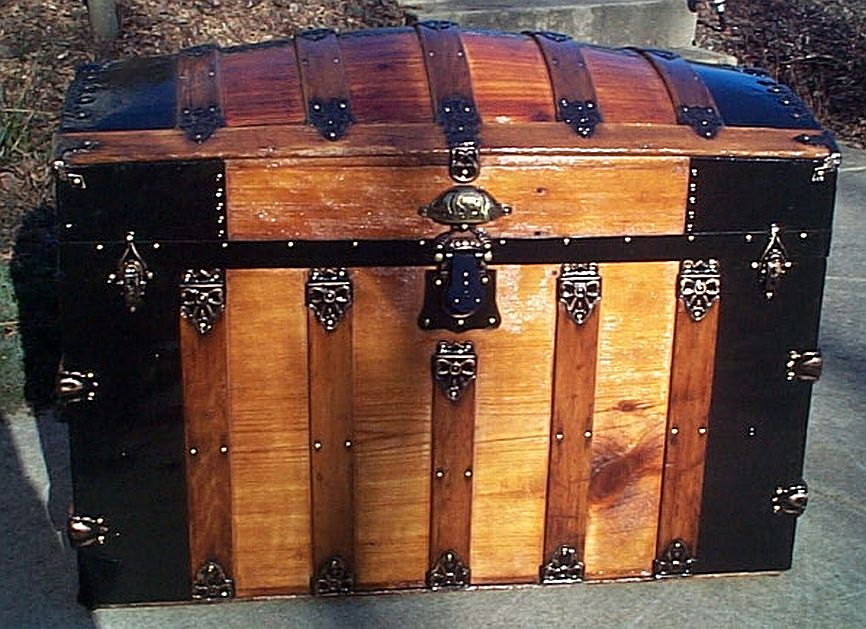 Front - All Wood Large Size Dome Top or Dometop Antique Steamer Trunk #353