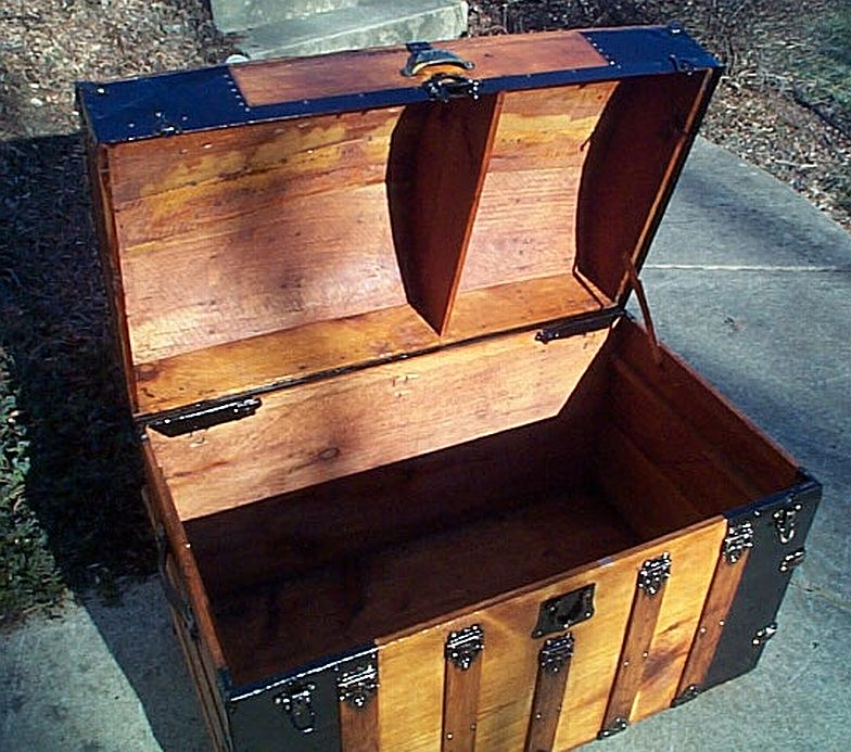 Open - All Wood Large Size Dome Top or Dometop Antique Steamer Trunk #353