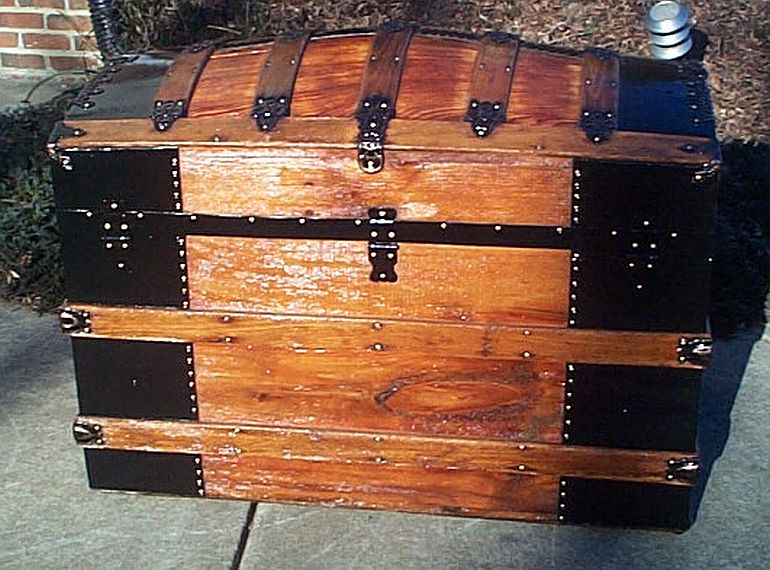 Rear - All Wood Large Size Dome Top or Dometop Antique Steamer Trunk #353