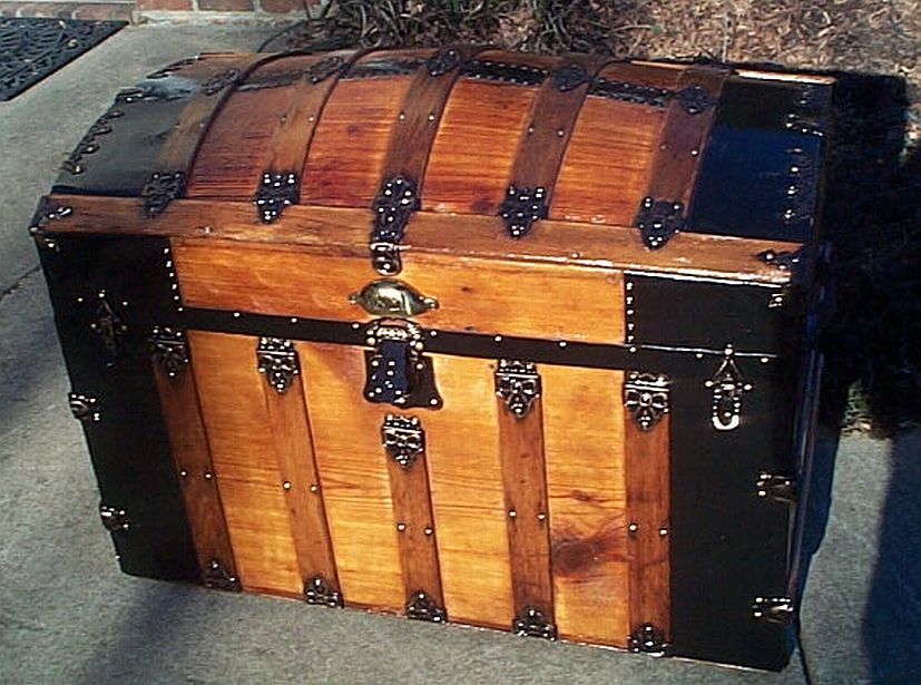 All Wood HUGE Size Dome Top Antique Trunk #353