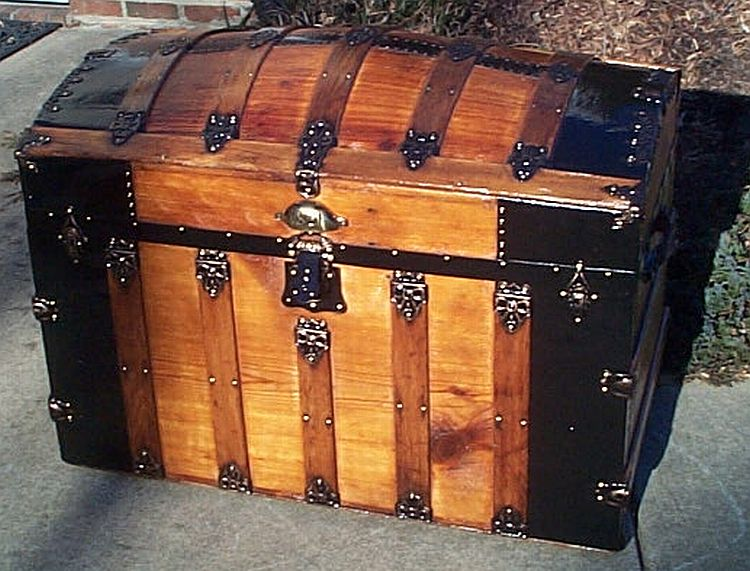 All Wood Large Size Dome Top or Dometop Antique Steamer Trunk #353