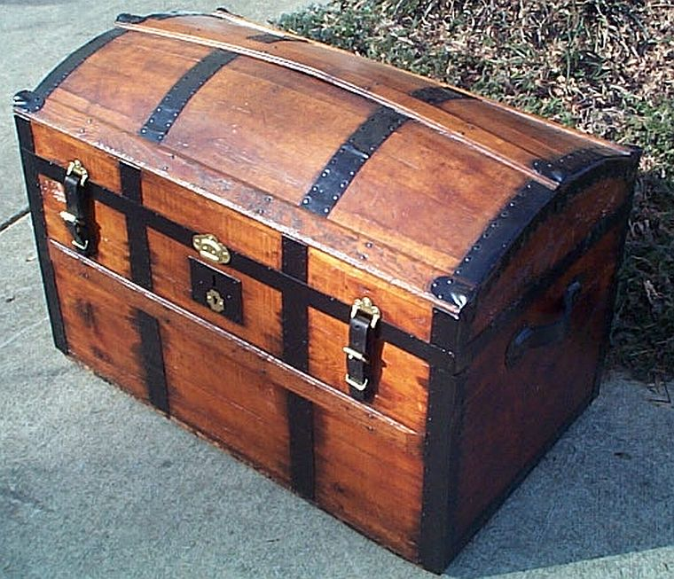Side - All Wood Large Size Dome Top or Dometop Antique Steamer Trunk #354