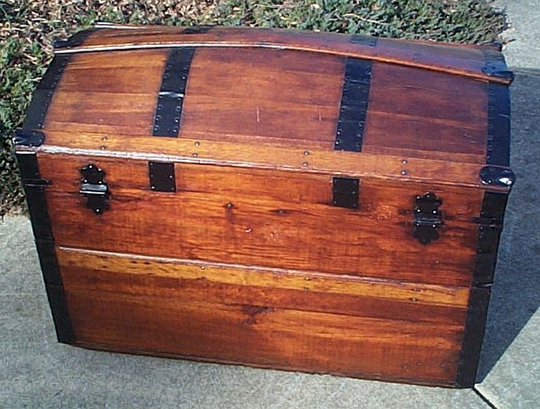 Rear - All Wood Large Size Dome Top or Dometop Antique Steamer Trunk #354