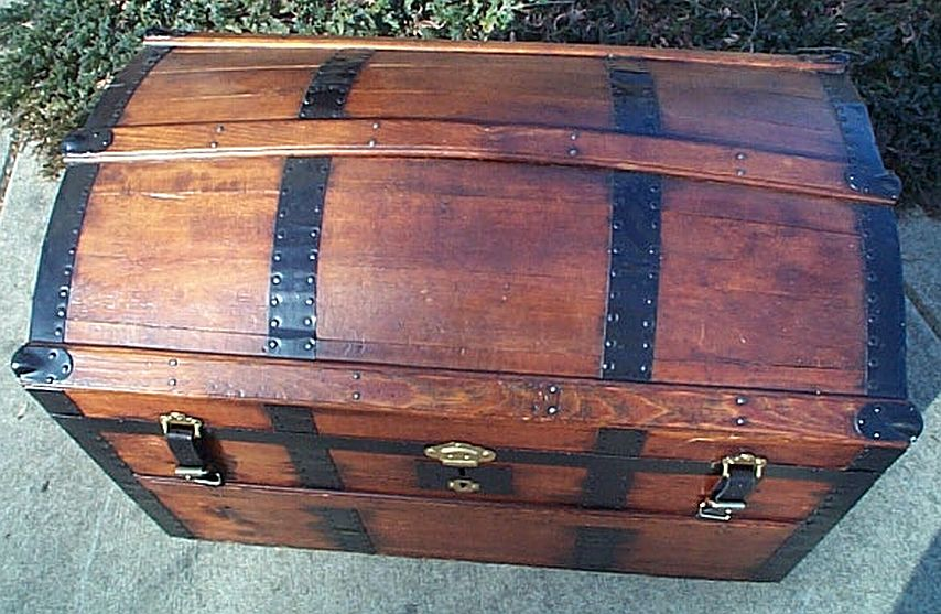 Top - All Wood Large Size Dome Top or Dometop Antique Steamer Trunk #354