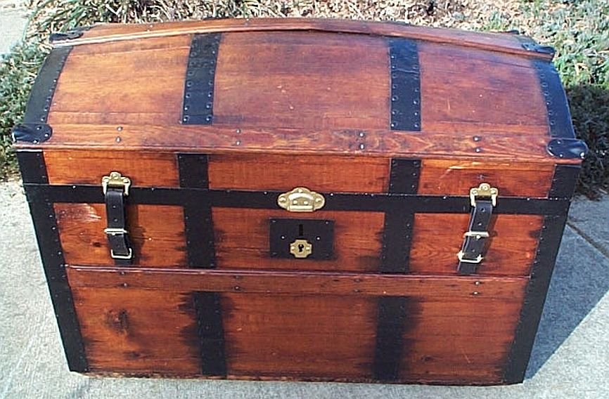 All Wood Large Size Dome Top Antique Trunk #354