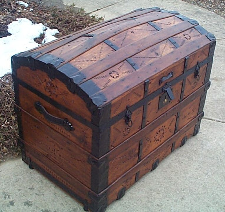 Side - All Wood Large Size Dome Top or Dometop Antique Steamer Trunk #356