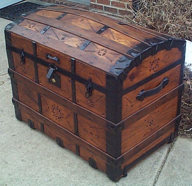 Open - All Wood Large Size Dome Top or Dometop Antique Steamer Trunk #356