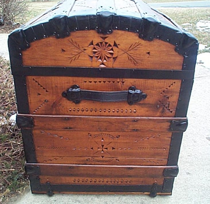 Victorian Lithograph - All Wood Large Size Dome Top or Dometop Antique Steamer Trunk #356