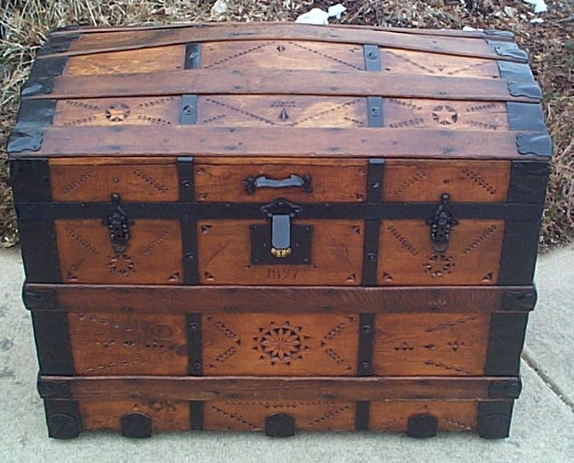 All Wood Large Size Dome Top Antique Trunk #356
