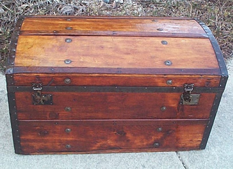 All Wood Dome Top Antique Trunk #357