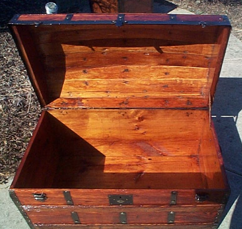 All Wood Huge Size Dome Top or Dometop Antique Steamer Trunk #358