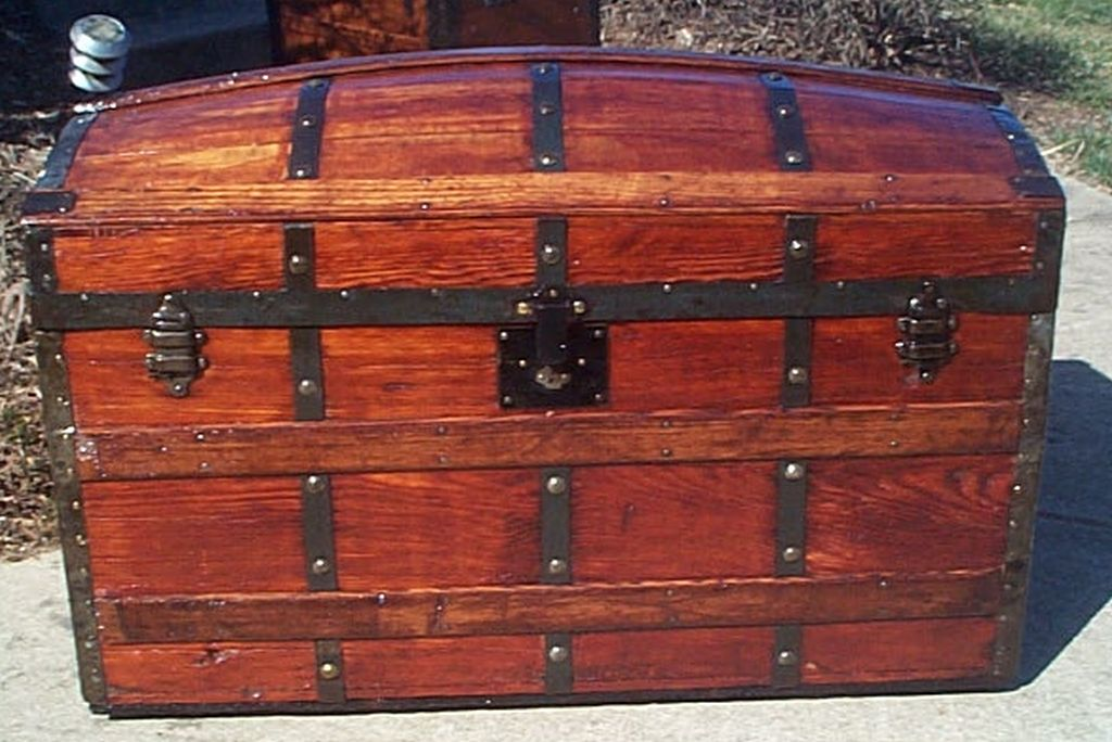 All Wood Dome Top Antique Trunk #358