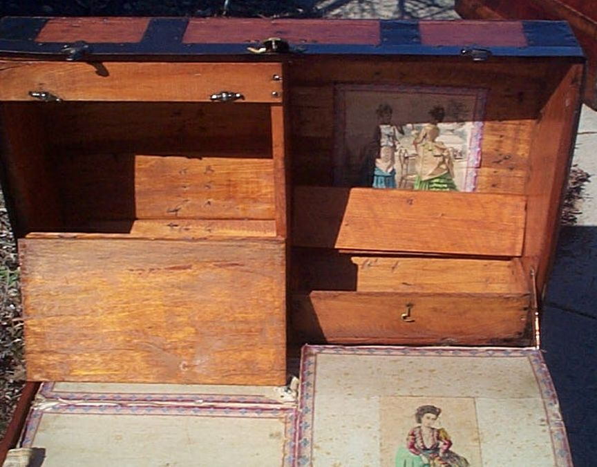 All Wood Huge Size Dome Top or Dometop Antique Steamer Trunk #359