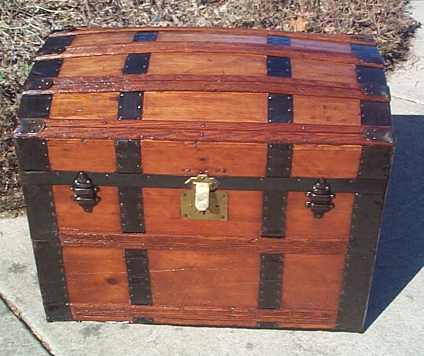 All Wood Dome Top Antique Trunk #359
