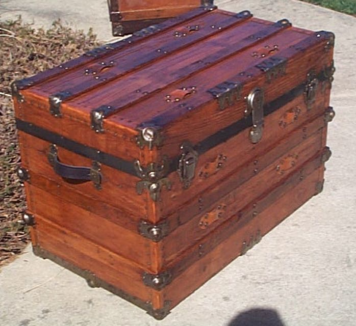 Side - All Wood Large Size Flat Top  Antique Steamer Trunk #360