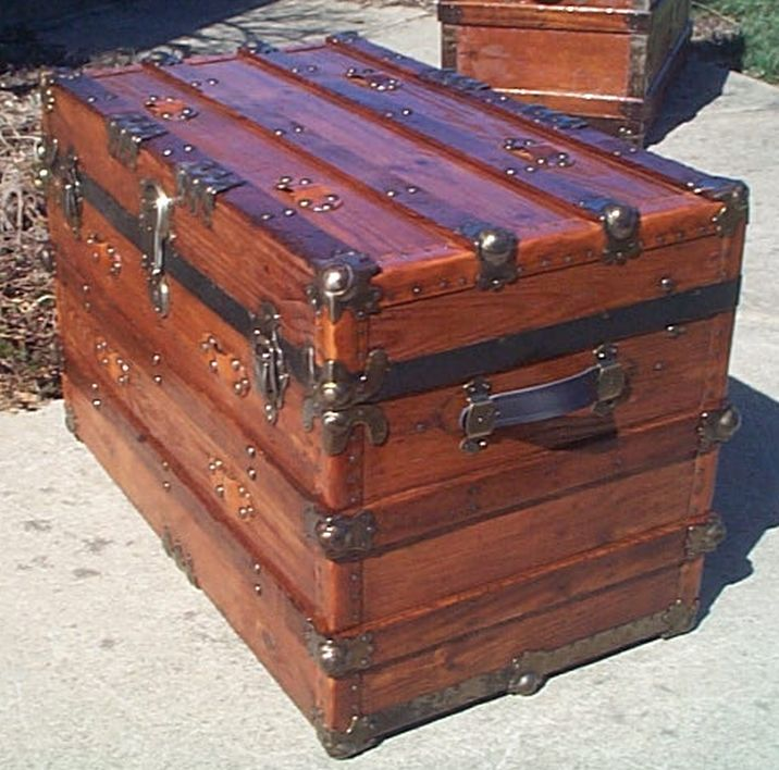 Side View - All Wood Large Size Flat Top Antique Steamer Trunk #360