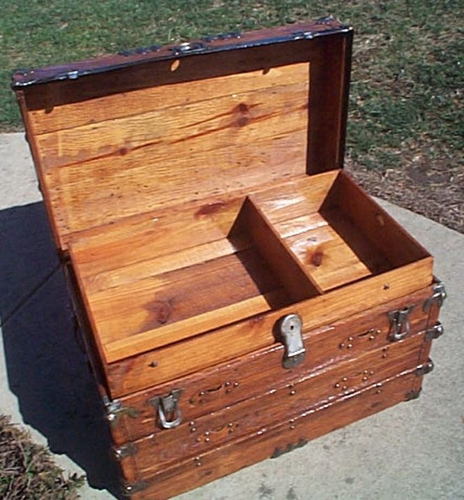 Open - All Wood Large Size Flat Top Antique Steamer Trunk #360