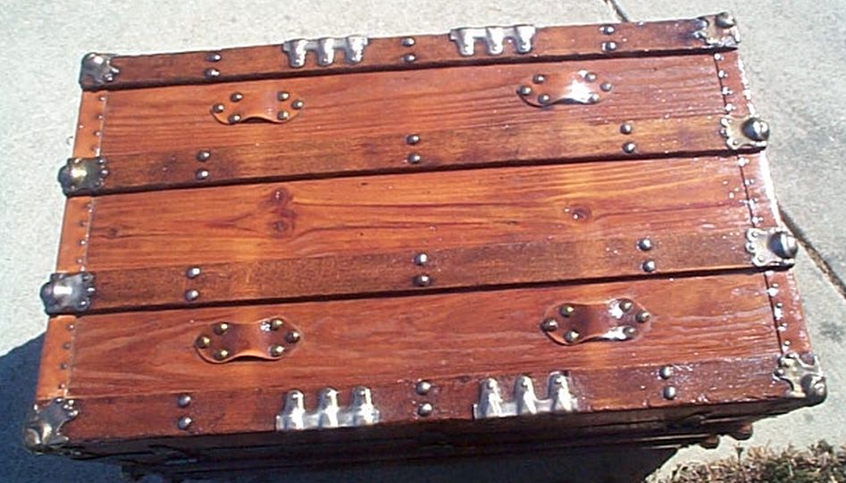 Top - All Wood Large Size Flat Top Antique Steamer Trunk #360