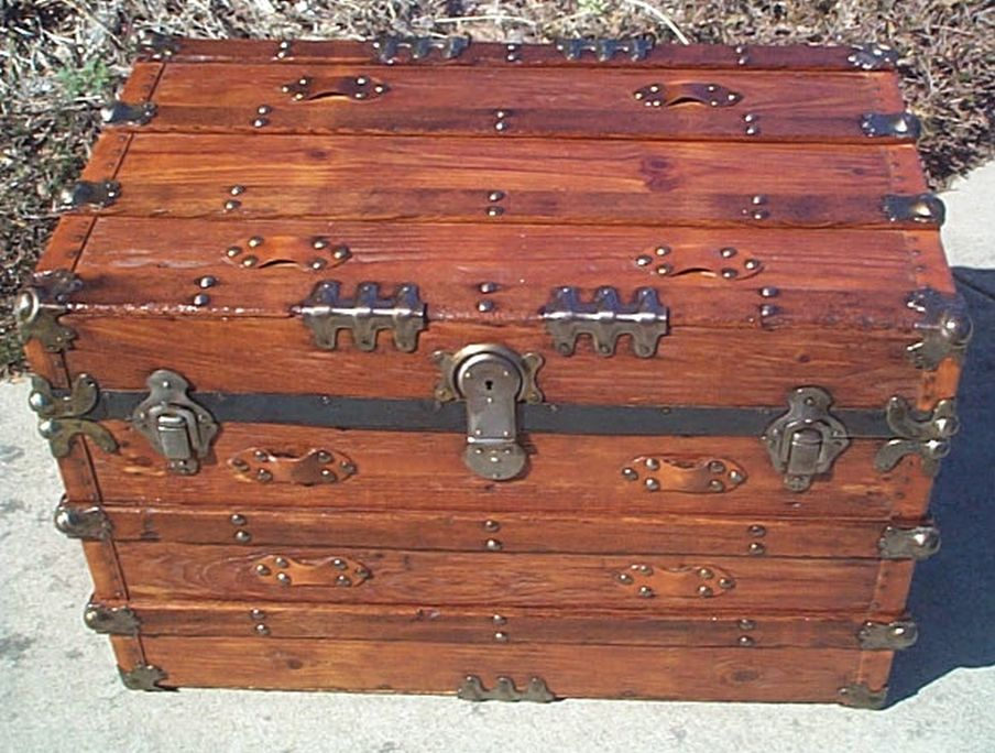 All Wood Large Size Flat Top Antique Trunk #360