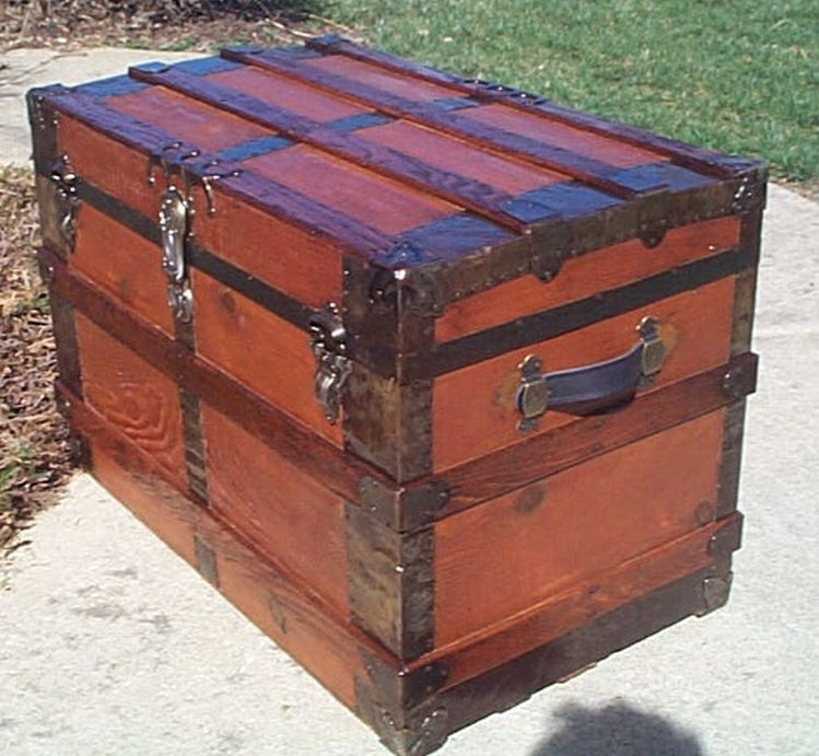 Side View - All Wood Large Size Flat Top Antique Steamer Trunk #361