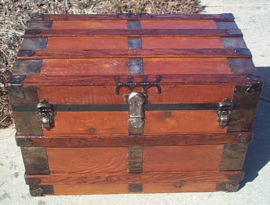 All Wood Large Size Flat Top Antique Trunk #361