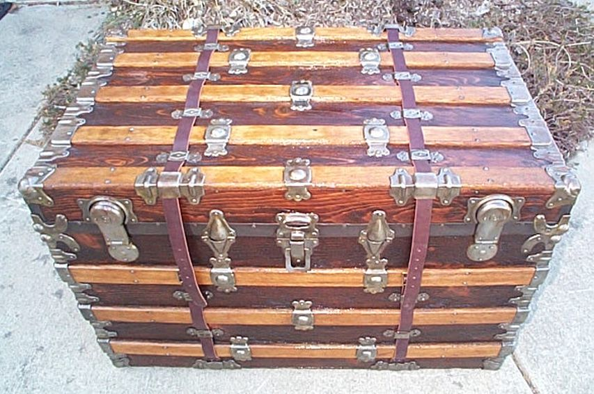 Rear - All Wood Large Size Flat Top Antique Steamer Trunk #362