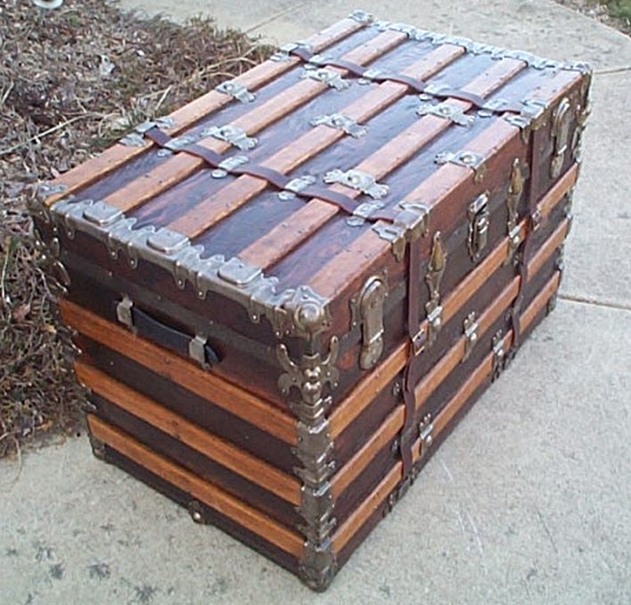 Side - All Wood Large Size Flat Top  Antique Steamer Trunk #362