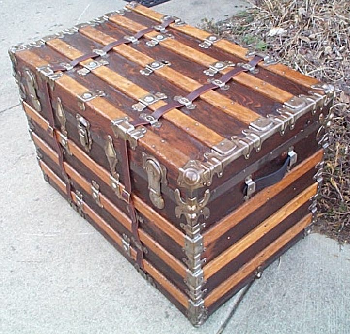Side View - All Wood Large Size Flat Top Antique Steamer Trunk #362