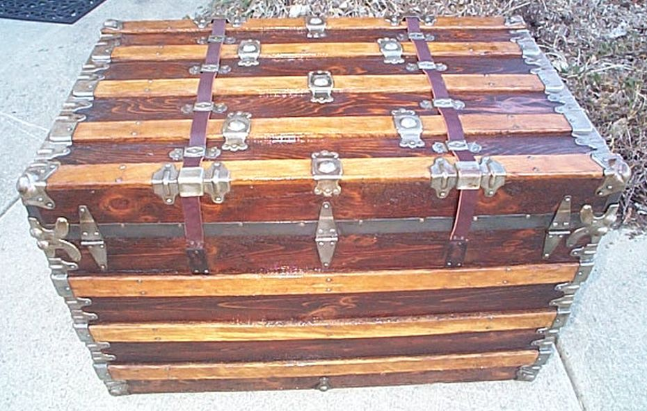 All Wood Large Size Flat Top Antique Steamer Trunk #362