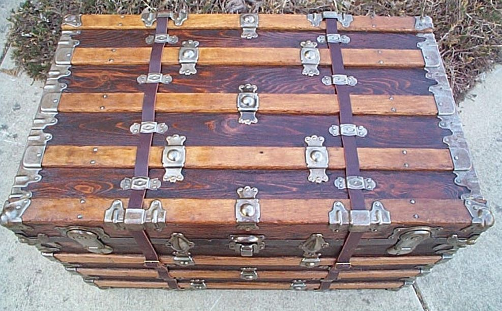 Top - All Wood Large Size Flat Top Antique Steamer Trunk #362