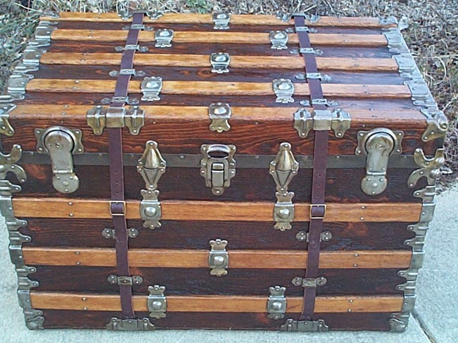 All Wood Large Size Flat Top Antique Trunk #362