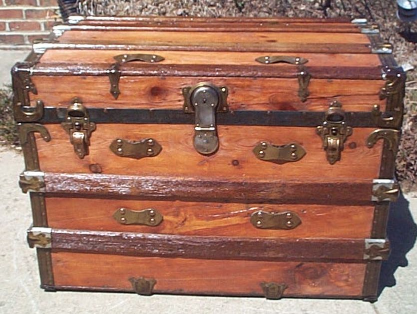 All Wood Large Size Flat Top Antique Steamer Trunk #363