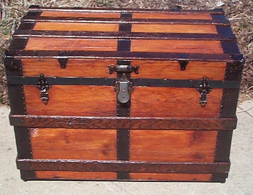 All Wood Large Size Flat Top Antique Steamer Trunk #364