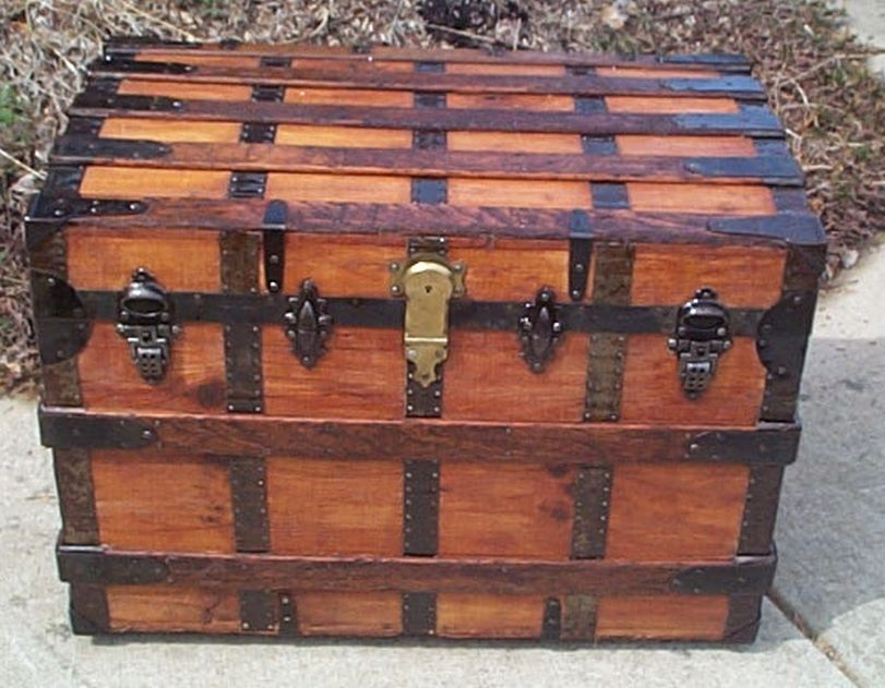 All Wood Large Size Flat Top Antique Steamer Trunk #365