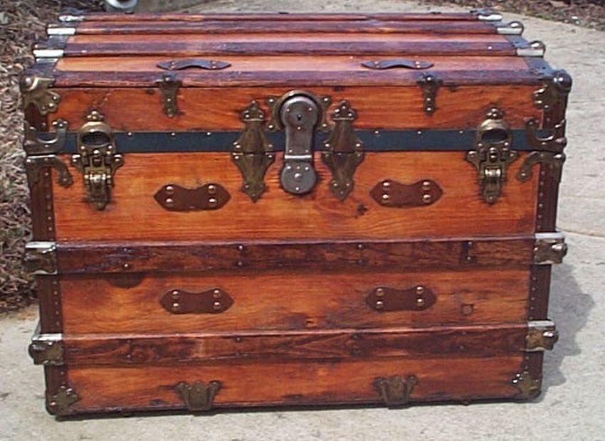 All Wood Large Size Flat Top Antique Steamer Trunk #366