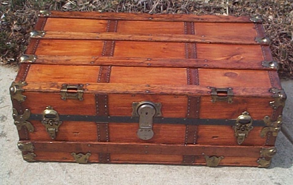 All Wood Large Size Flat Top Antique Steamer Trunk #367